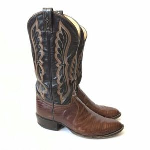 Tony Lama Cowboy Boots 9 Western Brown Leather